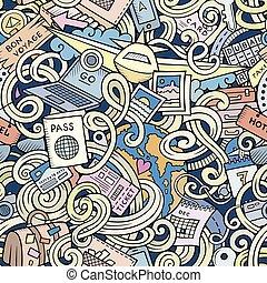 karikatur, doodles, reise, planung, seamless, muster