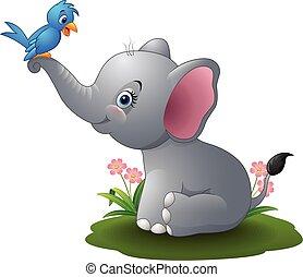 karikatur, elefantenkind, spielende , mit