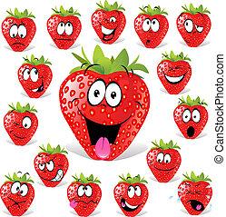 karikatur, erdbeer