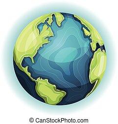 karikatur, erde, planet