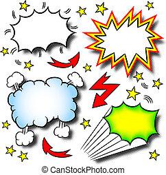 karikatur, explosionen