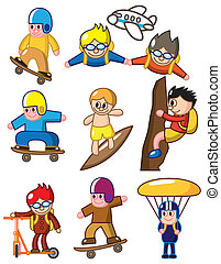 karikatur, extremer sport, ikone