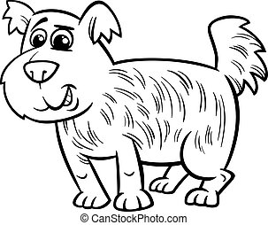 karikatur, färbung, hund, seite, struppig