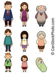karikatur, familie, ikone
