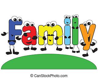 karikatur, familie