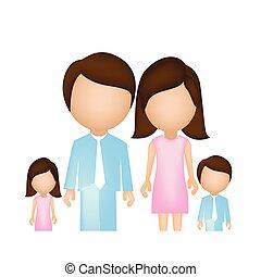 karikatur, familie, zusammen, ikone