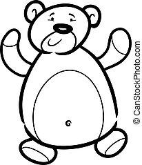 karikatur, farbton- buch, bär, teddy