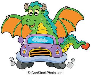karikatur, feuerdrachen, fahren, auto
