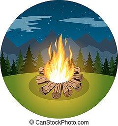 karikatur, freudenfeuer, auf, nacht, landschaftsbild
