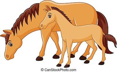 karikatur, glücklich, pferd, brauner