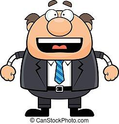 karikatur, glücklich, vorgesetzter, mann