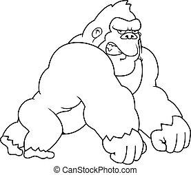 karikatur, gorilla, gehen