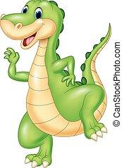 karikatur, grün, dinosaurierer