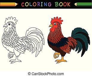 karikatur, hahn, farbton- buch
