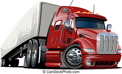 karikatur, halblastwagen