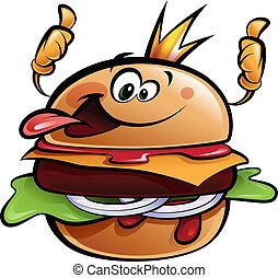 karikatur, hamburger, koenig, machen, a, daumen hoch,...