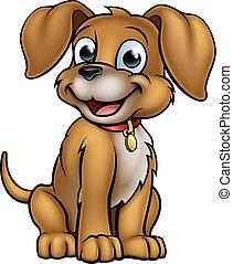karikatur, haustier, hund, zeichen