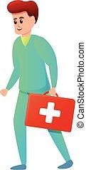 karikatur, hilfe, satz, krankenschwester, ikone, stil, zuerst