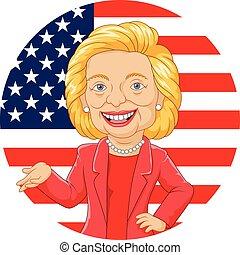 karikatur, hillary, clinton, zeichen