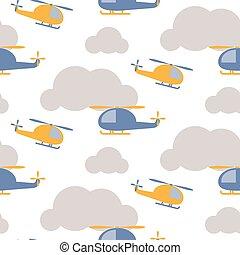 karikatur, hubschrauber, in, himmelsgewölbe, seamless, vektor, pattern.