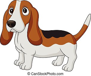 karikatur, hund, basset, freigestellt, weiß, hintergrund