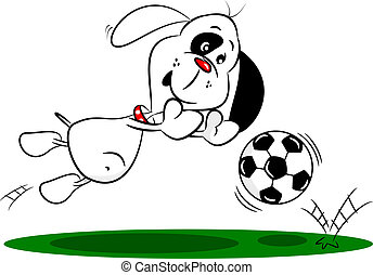 karikatur, hund, einsparung, a, fußball
