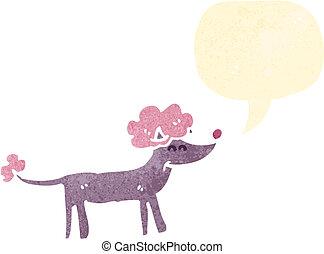 karikatur, hund, franzoesischer pudel, retro