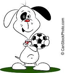 karikatur, hund, mit, a, fußball