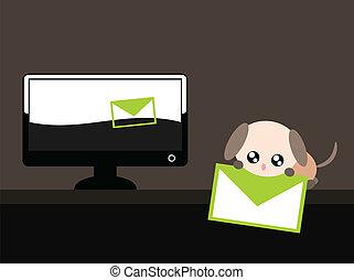 karikatur, hund, mit, e-mail, abbildung