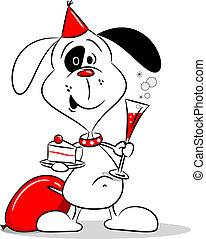 karikatur, hund, party