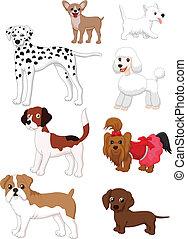 karikatur, hund, sammlung