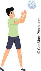 karikatur, ikone, amateur, stil, volleyball