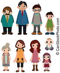 karikatur, ikone, familie