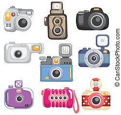 karikatur, ikone, fotoapperat