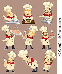 karikatur, ikone, küchenchef