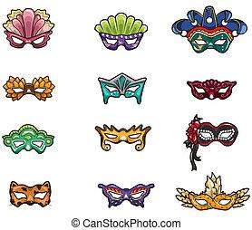 karikatur, ikone, maske, party