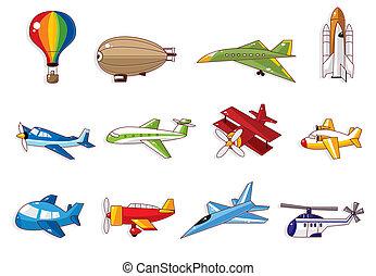 karikatur, ikone, motorflugzeug