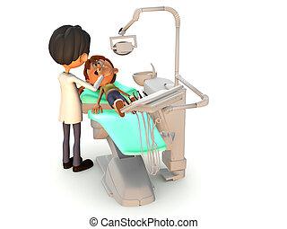 karikatur, junge, bekommen, a, dental, exam.
