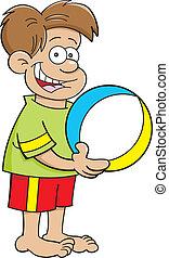 karikatur, junge, besitz, a, strandball
