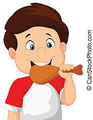 karikatur, junge, essende, gebraten, chicken.