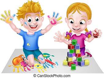 karikatur, junge mädchen, spielende , mit, blöcke, und, farbe
