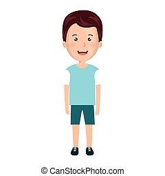 karikatur, junge, mit, beiläufige kleidung
