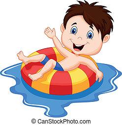 karikatur, junge, schwimmend, auf, ein, inflatab