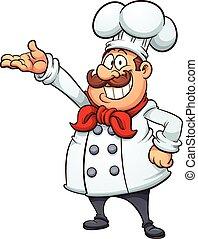 karikatur, küchenchef, dicker