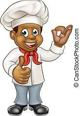 karikatur, küchenchef, schwarz, koch