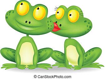 karikatur, küssende , frosch