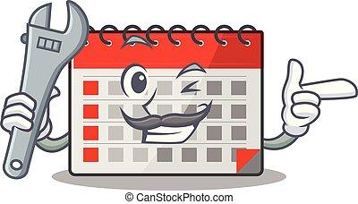 karikatur, kalender, mechaniker, maskottchen