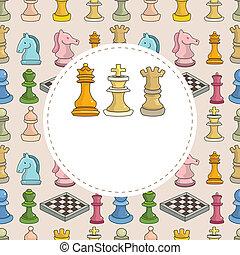 karikatur, karte, schach