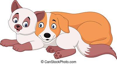 karikatur, katz, und, hund, entspannend