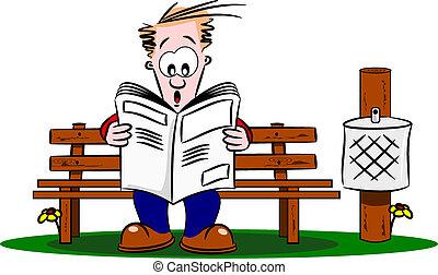 karikatur, kerl, lesen zeitung